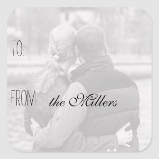 Create your own Photo Personalized Gift Tag Square Stickers