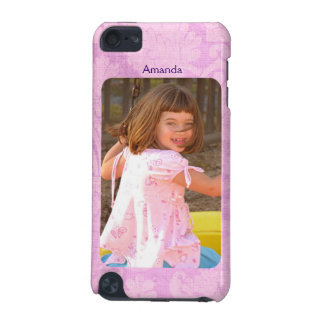 Create Your Own Photo Pink Damask With Name iPod Touch (5th Generation) Case