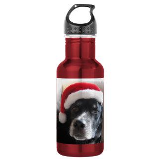 Create Your Own Photo-Santa Dog-Lab/Rottweiler Mix 18oz Water Bottle