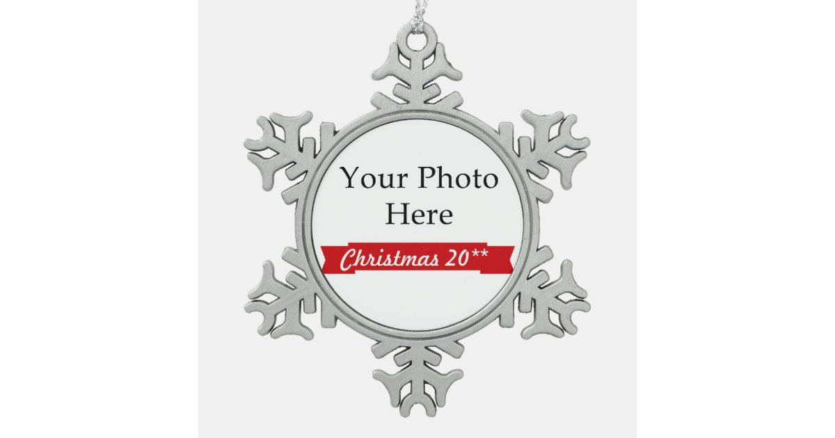 Create Your Own Photo Snowflake Pewter Christmas Ornament