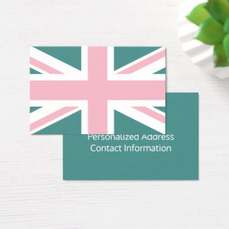 Create Your Own Pink and White Union Jack Business Card