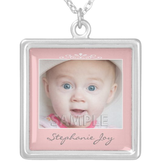 Create Your Own Pink Custom Photo Template Silver Plated Necklace
