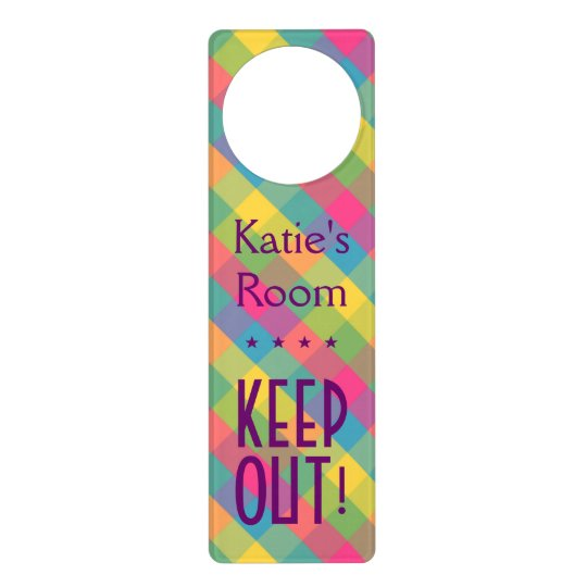 Design Your Own Door Hangers: Create Your Own: Pretty Plaid KEEP OUT! Doorhanger
