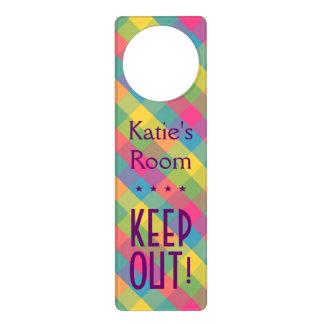 Create your own: Pretty Plaid KEEP OUT! Doorhanger Door Knob Hanger