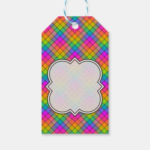 Create Your Own Rainbow Gingham Gift Tags
