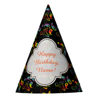Create Your Own Rainbow Paisley Party Hat