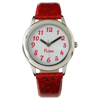 Create Your Own Red Personalized Solid Color Wrist Watch