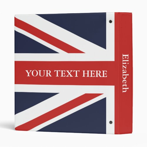 Create Your Own Red Union Jack and Your Text 3 Ring Binder
