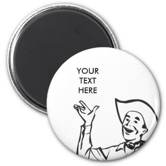 CREATE YOUR OWN RETRO COWBOY GIFTS 2 INCH ROUND MAGNET