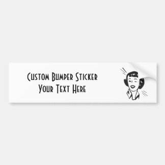 CREATE YOUR OWN RETRO HAPPY WINKING LADY GIFTS CAR BUMPER STICKER