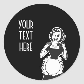 CREATE YOUR OWN RETRO HOUSEWIFE LETTER GIFTS CLASSIC ROUND STICKER