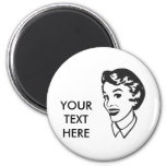 CREATE YOUR OWN RETRO LADY FACE GIFTS REFRIGERATOR MAGNETS