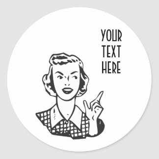 CREATE YOUR OWN RETRO MAD HOUSEWIFE GIFTS CLASSIC ROUND STICKER