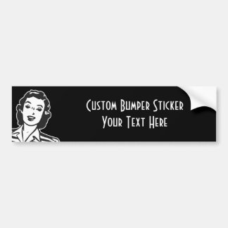 CREATE YOUR OWN RETRO SMILING WOMAN GIFTS BUMPER STICKER