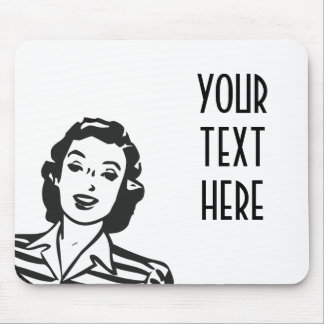 CREATE YOUR OWN RETRO SMILING WOMAN GIFTS MOUSEPADS
