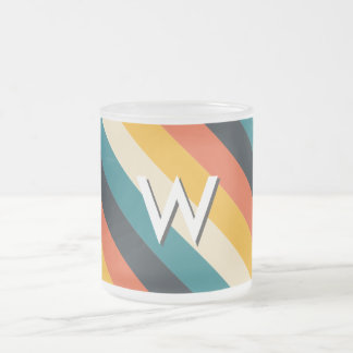 Create Your Own: Retro Stripes Monogram 10 Oz Frosted Glass Coffee Mug
