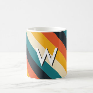 Create Your Own: Retro Stripes Monogram Classic White Coffee Mug