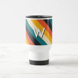 Create Your Own: Retro Stripes Monogram 15 Oz Stainless Steel Travel Mug