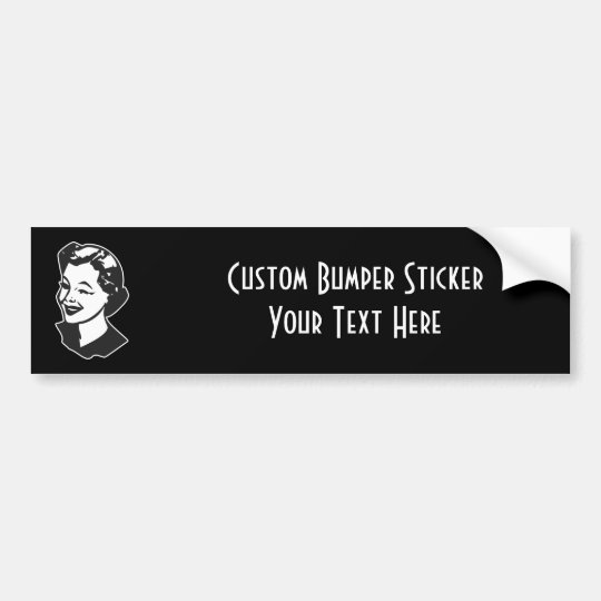 CREATE YOUR OWN RETRO WINK LADY GIFTS BUMPER STICKER