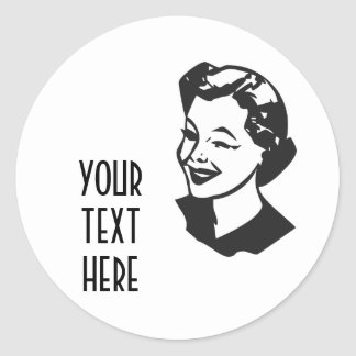 CREATE YOUR OWN RETRO WINK LADY GIFTS CLASSIC ROUND STICKER