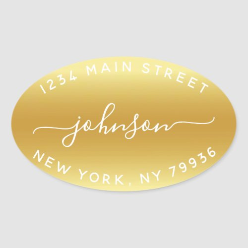 Create Your Own  Return Address Gold White Oval Sticker