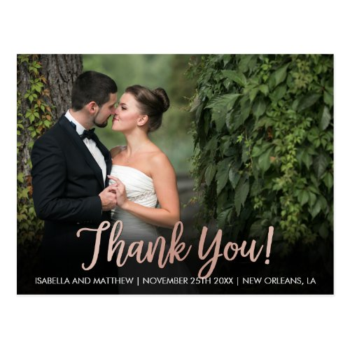 Create Your Own Rose Gold Thank You Pic Postcard