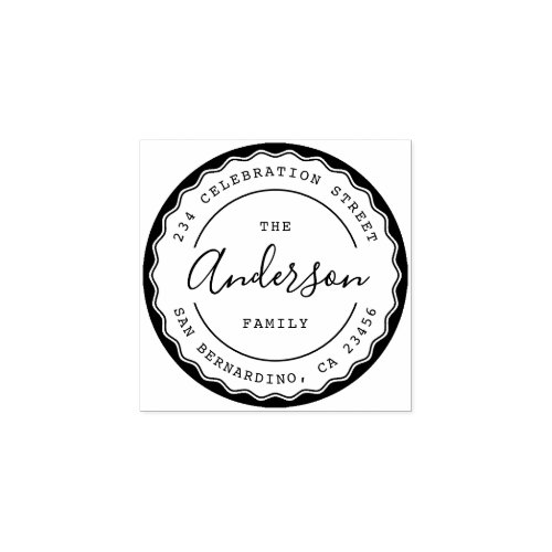 Create Your Own Round Family Name Return Address Rubber Stamp