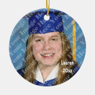 Create Your Own Round Photo Keepsake With Text Ceramic Ornament