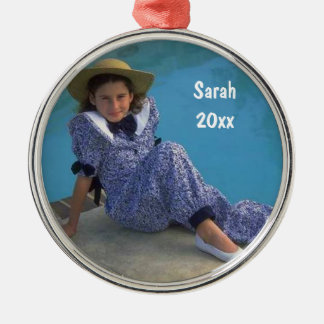 Create Your Own Round Photo Keepsake With Text Metal Ornament