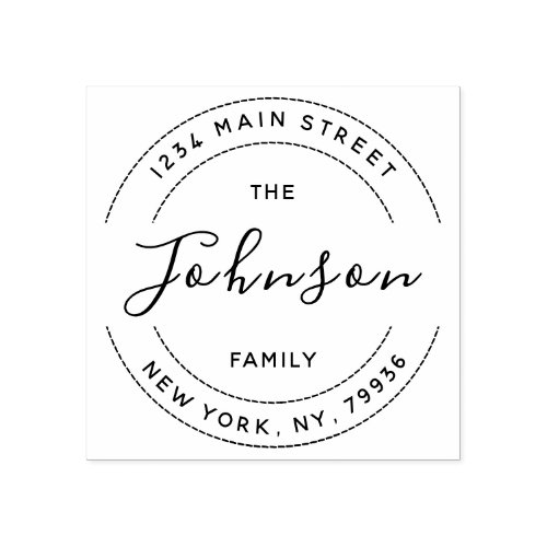 Create Your Own Round Return Address Family Name Rubber Stamp