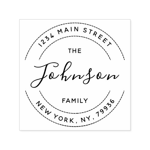 Create Your Own Round Return Address Family Name Self_inking Stamp