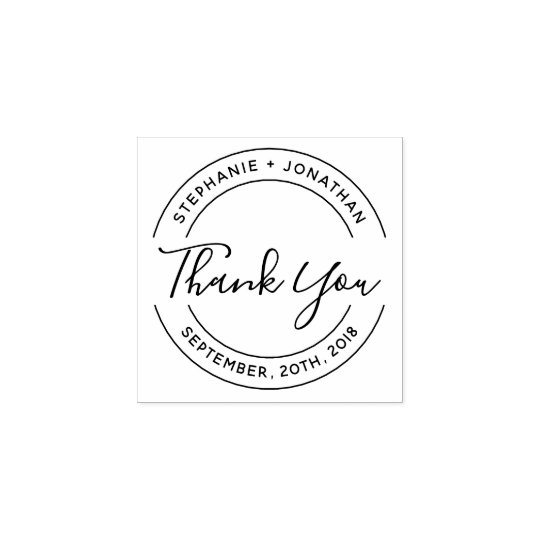 Design Your Own Rubber Stamp: Create Your Own Round Wedding Thank You Rubber Stamp