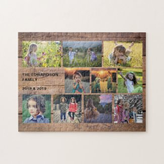 Create your own rustic family photo collage jigsaw puzzle