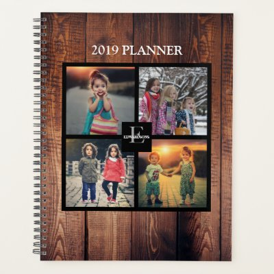 custom family photo collage black personalized planner zazzle com