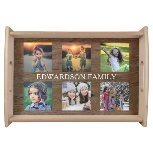 Create your own rustic family photo collage serving tray