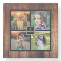 Create your own rustic family photo collage stone coaster