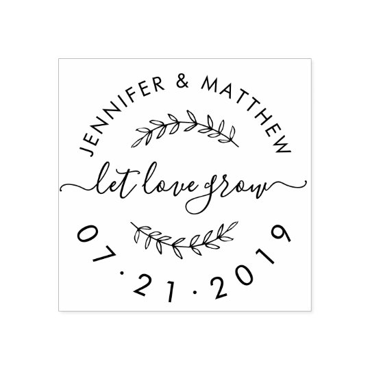 Design Your Own Rubber Stamp: Create Your Own Rustic Let Love Grow Wedding Date Rubber