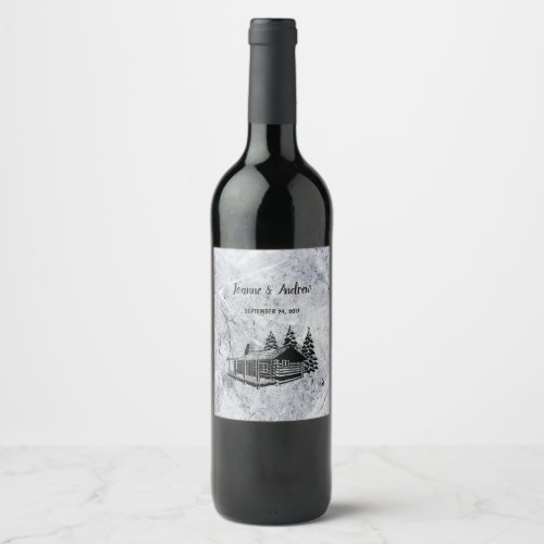Create your own rustic mountain lodge Wedding Wine Label