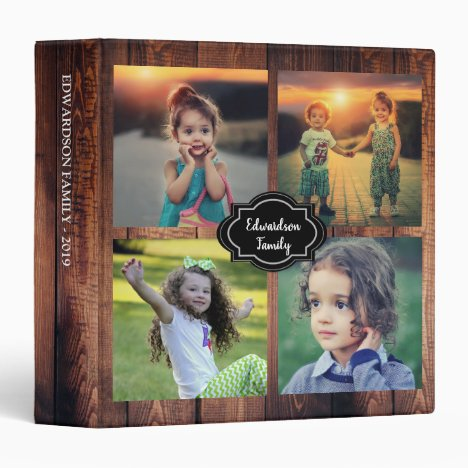Create your own rustic wood family photo 3 ring binder