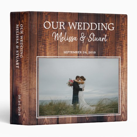 Create your own rustic wood photo Wedding 3 Ring Binder