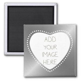 Create Your Own Silver Heart Fridge Magnet