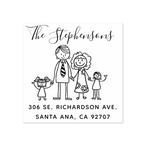 Create Your Own Simple Hand_drawn Family Name Rubber Stamp
