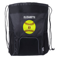 Create Your Own Softball Player Name Jersey Number Drawstring Backpack