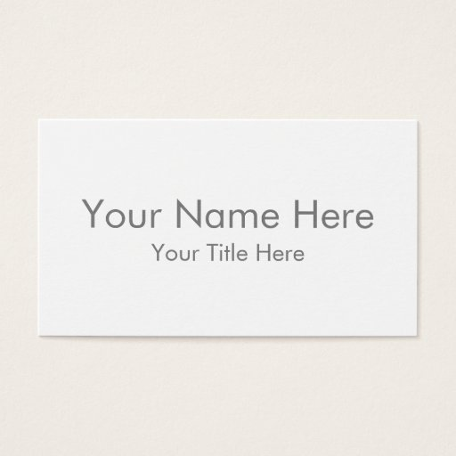 Create Your Own Standard Business Card