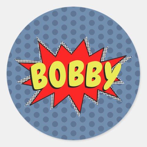 Create Your Own Superhero Name POW Classic Round Sticker