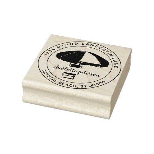 Create Your Own Tropical Beach Return Address Rubber Stamp