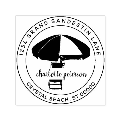 Create Your Own Tropical Beach Return Address Self_inking Stamp