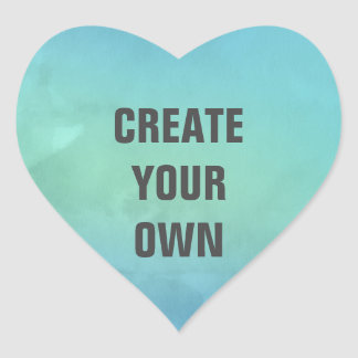 Create Your Own Turquoise Watercolor Painting Heart Sticker