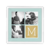 Create Your Own Wedding Photo Collage Monogram Acrylic Tray