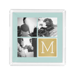 Create Your Own Wedding Photo Collage Monogram Acrylic Tray